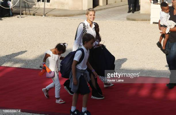 wife of Blaise Matuidi Isabelle Matuidi arrive as receives France's national football team at Elysee Palace on July 16 2018 in Paris France France...