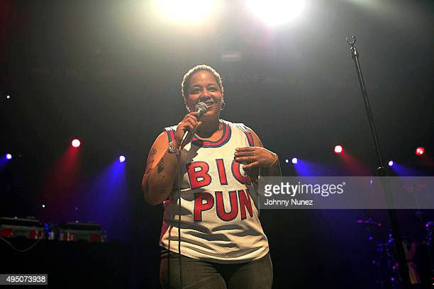 Wife of deceased rapper Big Pun Liza Rios speaks onstage at PlayStation Theater on October 30 2015 in New York City