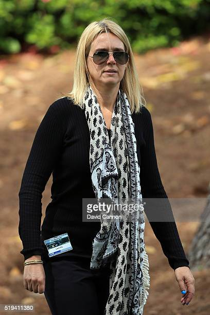 Wife of Ernie Els of South Africa Liezl looks on during the Par 3 Contest prior to the start of the 2016 Masters Tournament at Augusta National Golf...