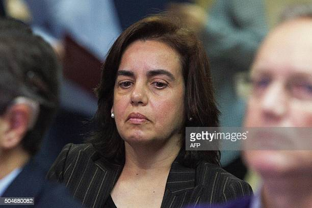 Wife of former partner of Inaki Urdangarin Diego Torres Ana Maria Tejeiro Losada looks on during a hearing held in the courtroom in the Balearic...