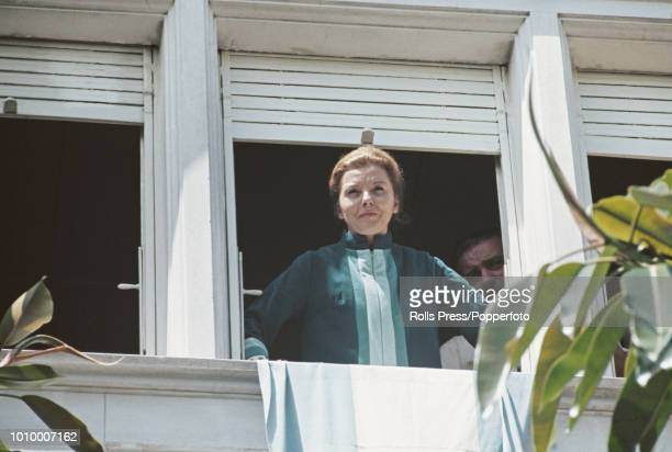 Wife of former President of Argentina Juan Peron Isabel Martinez de Peron gazes at supporters from a balcony at a house in Vicente Lopez Buenos Aires...