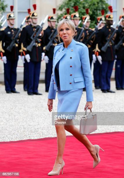 Wife of France's newlyelected President Emmanuel Macron Brigitte Trogneux arrives at the Elysee Presidential Palace for the handover ceremony between...
