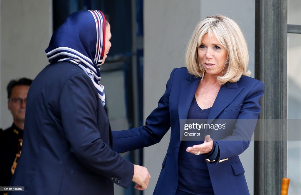 Wife of French President Brigitte Macron receives latifa ibn ziaten at the Presidential Palace