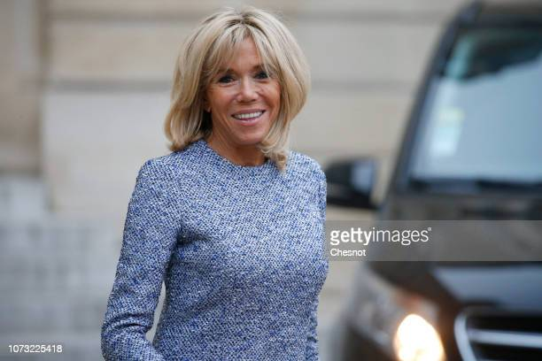 Wife of French President Brigitte Macron is seen after meeting Romanian President Klaus Iohannis and his wife Carmen Iohannis at the Elysee...