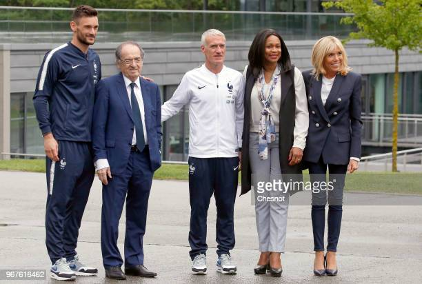 Wife of French President Brigitte Macron poses with French Sports Minister Laura Flessel French Football Federation President Noel Le Graet France's...