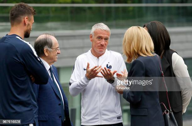 Wife of French President Brigitte Macron speaks with French Sports Minister Laura Flessel French Football Federation President Noel Le Graet France's...