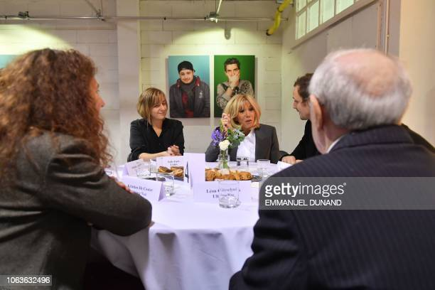 Wife of French President Brigitte Macron speaks with inhabitants of the Brussels district of Molenbeek at the cultural center LaVallee a 6000...