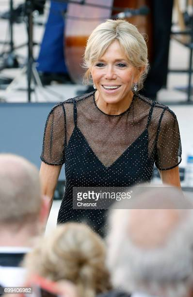 Wife of French President Emmanuel Macron Brigitte Trogneux attends the 'Fete de la musique' during the visit of Colombian President Juan Manuel...