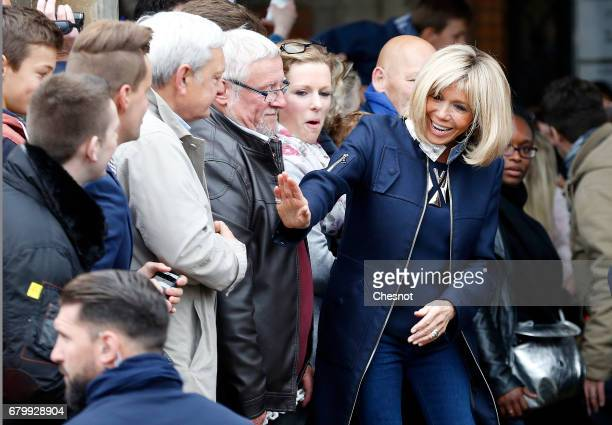 Wife of French presidential election candidate for the 'En Marche' political movement Emmanuel Macron Brigitte Trogneux leaves the polling station of...