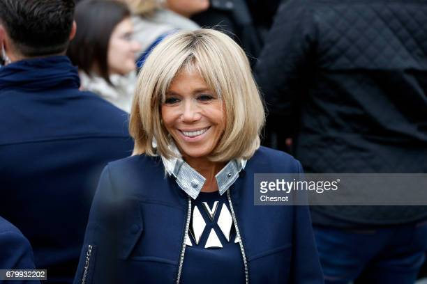 Wife of French presidential election candidate for the 'En Marche!' political movement, Emmanuel Macron, Brigitte Trogneux leaves the polling station...