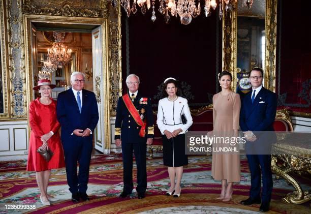 Wife of German President Elke Buedenbender, German President Frank-Walter Steinmeier, Sweden's King Carl Gustaf, Queen Silvia, Crown Princess...