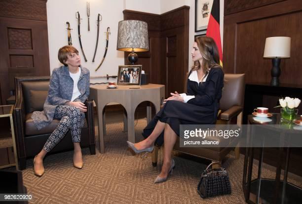 Wife of German president Elke Buedenbender meets with by Jordan's Queen Rania in Amaan Jordan 28 January 2018 His five day trip will see him visit a...