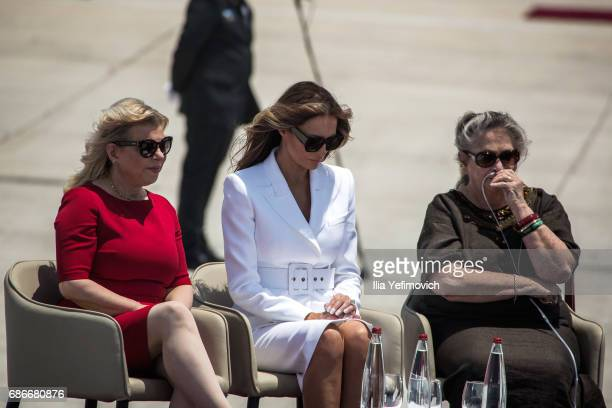 Wife of Israeli Prime Minister Sarah Netanyahu American first lady Melania Trump and Israeli Presidents wife Nehama Rivlin attend a welcome ceremony...