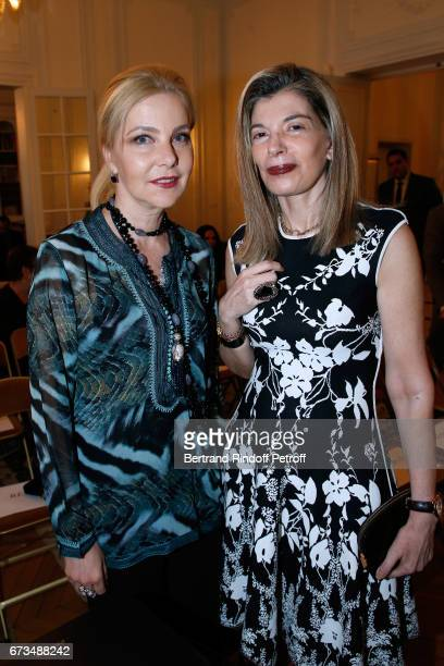 Wife of Italy's Ambassador to France Giada Magliano and Ambassador of Greece in Paris Maria Theofili attend the presentation of the Book 'Scenes De...