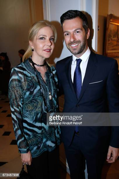 Wife of Italy's Ambassador to France Giada Magliano and Christos Markogiannakis attend the presentation of the Book 'Scenes De Crime au Louvre'...