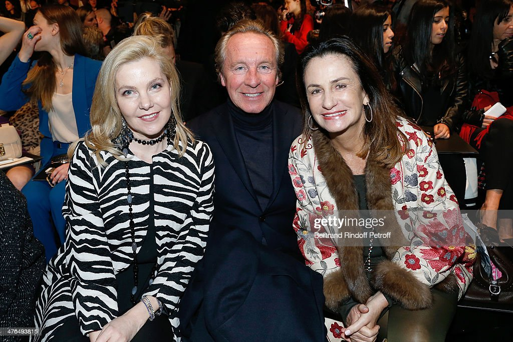 Wife of Italy's ambassador to France Giandomenico Magliano, Belgian fashion designer Edouard Vermeulen and Countess Georgina Brandolini D'Adda attend the Elie Saab show as part of the Paris Fashion Week Womenswear Fall/Winter 2014-2015 on March 3, 2014 in Paris, France.