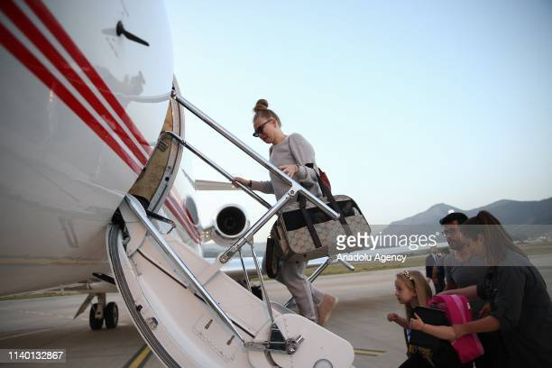 Wife of Josef Sural Denisa and their daughters Vanessa and Melissa Denise arrive to the airport to leave Turkey with Turkish Foreign Minister Mevlut...