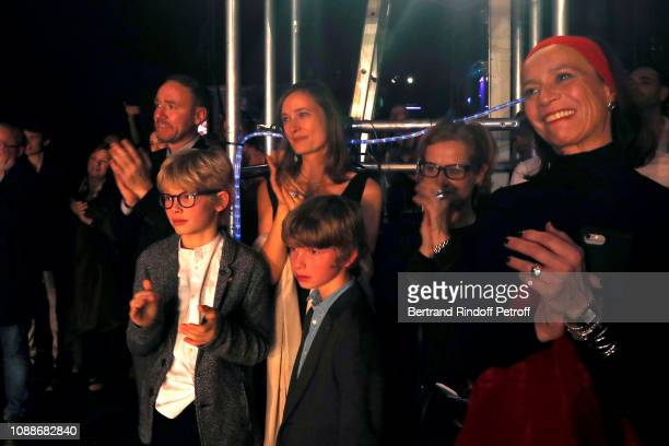 Wife of Karl Paquette Marion Paquette with their children Leopaul and Sacha attend the Opera National de Paris celebrates the official farewell to...