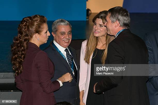 Wife of King Mohammed VI of Morocco Princess Lalla Salma and Princess Dina Mired of Jordan attend the World Cancer Congress at Palais des Congres on...