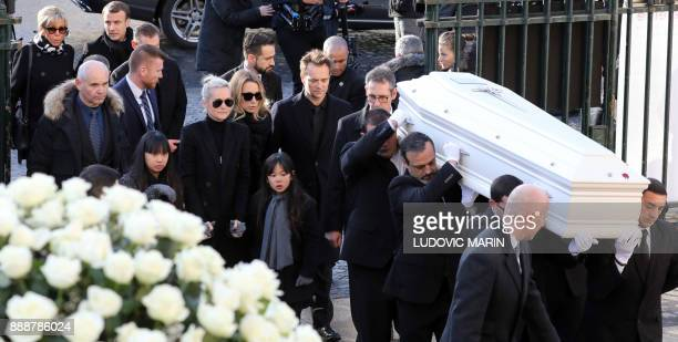 Wife of late French singer Johnny Hallyday Laeticia his daughter Laura Smet his son David Hallyday his daughters Joy and Jade French President...