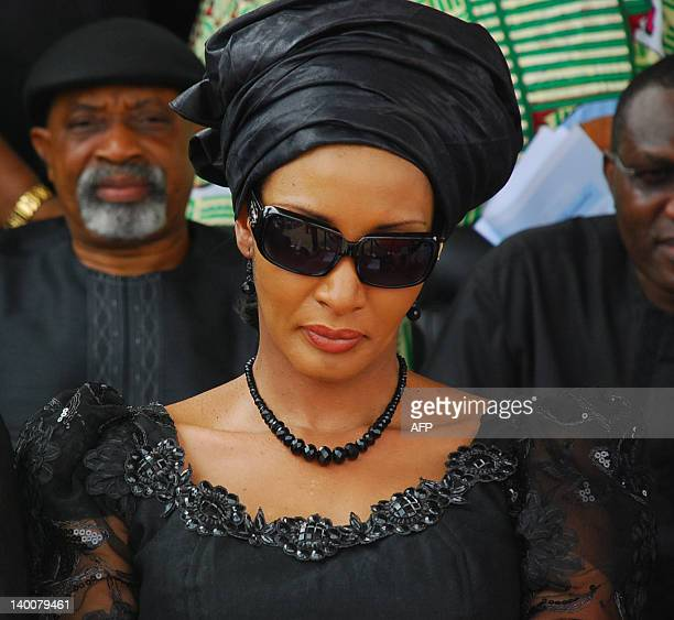 Wife of late Nigeria's secessionist leader Odumegwu Ojukwu Bianca Ojukwu Ikemba mourns at the Presidential Wing of Inamdi Azikiwe International...