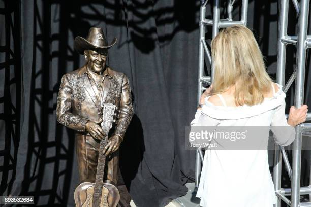 Wife of Little Jimmy Dickens Mona Dickens attends the unveiling of statues of Little Jimmy Dickens and Bill Monroe at Ryman Auditorium on June 7 2017...