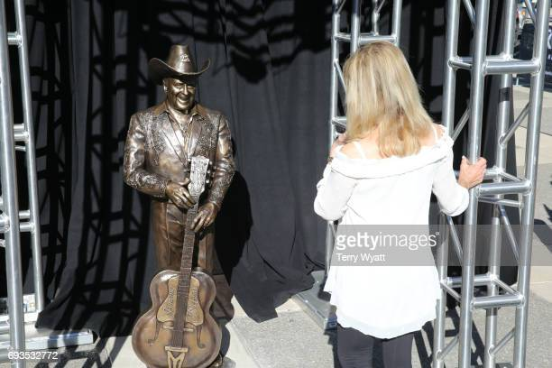 Wife of Little Jimmy Dickens Mona Dickens attends the unveiling of statues of Little Jimmy Dickens and Bill Monroe at Ryman Auditorium on June 7,...