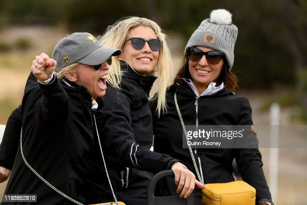Wife of Louis Oosthuizen of South Africa and the International team NelMare Oosthuizen and wife of Adam Scott of Australia and the International team...