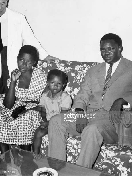Wife of murdered Congolese leader Patrice Emergy Lumumba first Prime Minister of the Democratic Republic of the Congo with her son and brother of her...