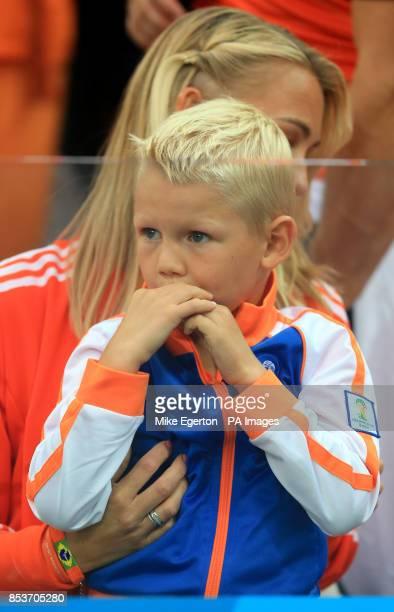 Wife of Netherland's Arjen Robben Bernadien Eillert with son Luka in the stands