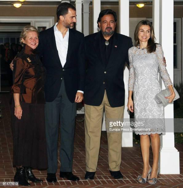 Wife of New Mexico Governor Barbara Richardon Prince Felipe New Mexico Governor Bill Richardson and Princess Letizia pose before dinner at Governor...