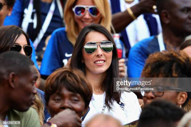 Wife of Olivier Giroud of France Jennifer Giroud looks on before the 2018 FIFA World Cup Russia group C match between Denmark and France at Luzhniki...