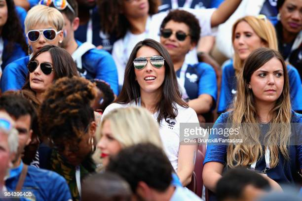 Wife of Olivier Giroud of France Jennifer Giroud with wife of Hugo Lloris of France Marine Lloris before the 2018 FIFA World Cup Russia group C match...