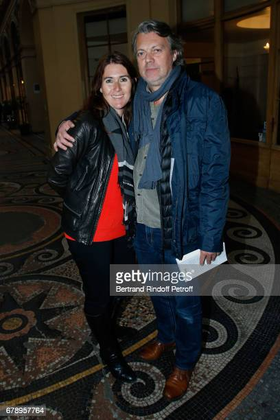 Wife of pascal Legitimus Adriana Santini and actor Eric Viellard attend the Cocktail 'Art is doing well' 'L'art se porte bien' Exhibition of the...