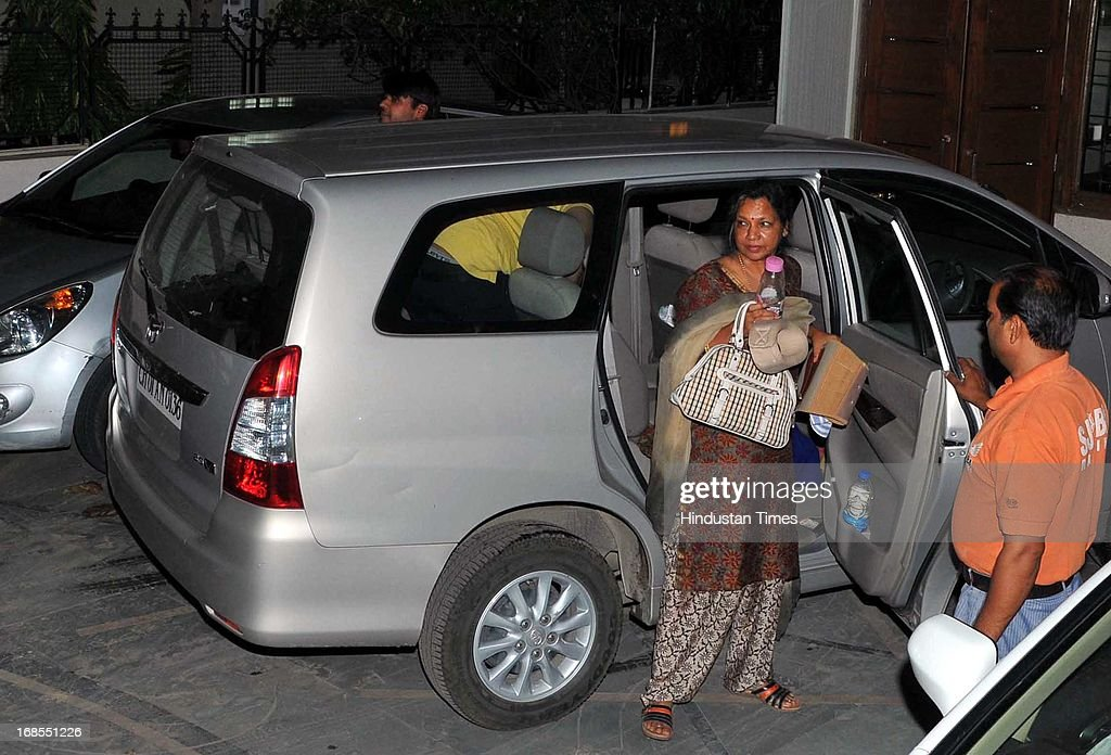 Wife of Pawan Kumar Bansal former Union Railway Minister reached at her residence Sector 28 on May 11 2013 in Chandigarh India Bansal was under the...