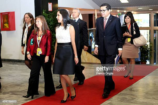 Wife of Peru President Nadine Heredia Alarcon arrives at the Fao headquarter for Second International Conference on Nutrition on November 20 2014 in...