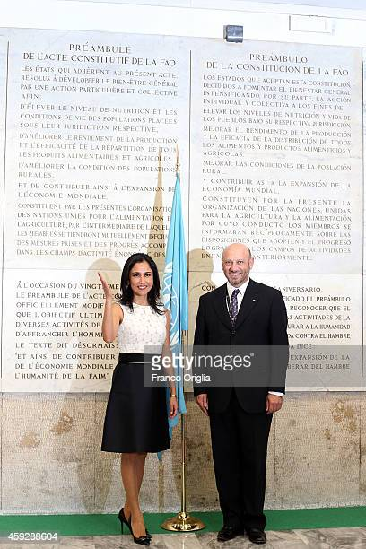 Wife of Peru President Nadine Heredia Alarcon poses in front of the FAO constitution as she arrives at the Fao headquarter for Second International...