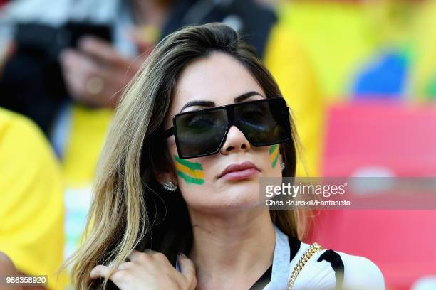 Wife of Philippe Coutinho of Brazil Aine Coutinho looks on during the 2018 FIFA World Cup Russia group E match between Serbia and Brazil at Spartak...
