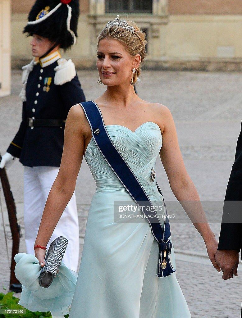 Wife of Prince Nikolaos of Greece, Tatiana arrives on June 8, 2013 ...