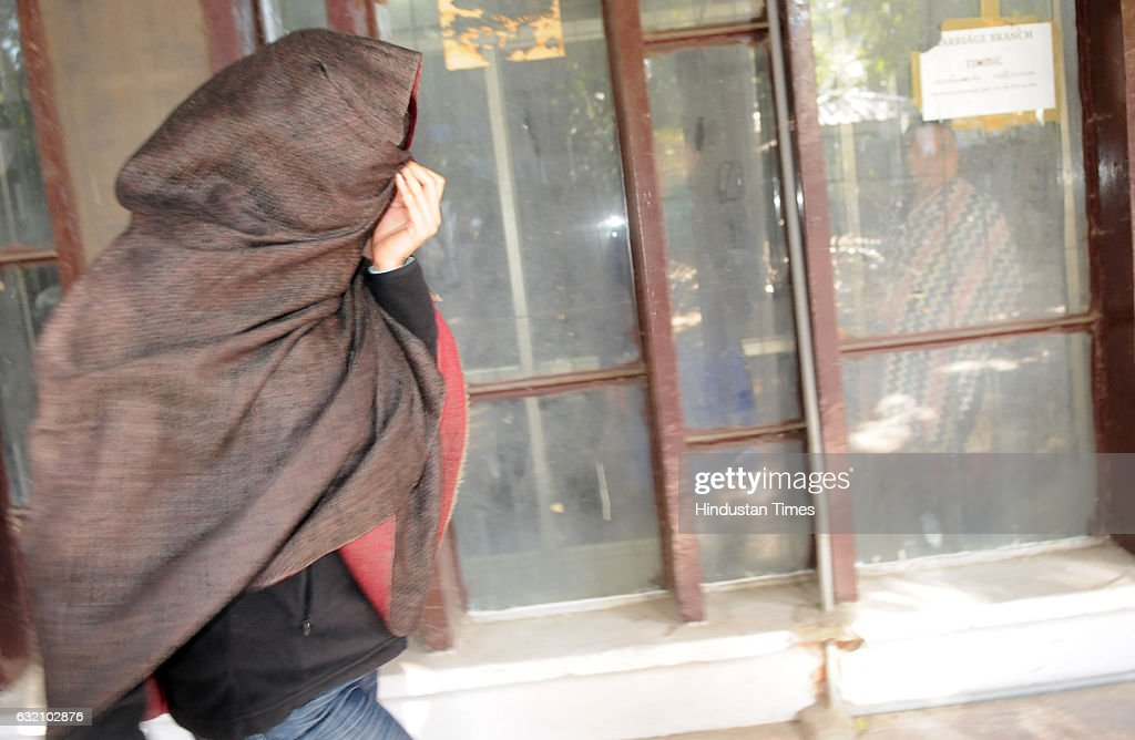 Wife of Siddharth Vashisht arrives at DC office for her marriage registration on January 19 2017 in Chandigarh India Delhi High Court has granted...
