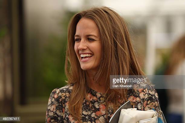 Wife of Tennis player Andy Murray, Kim Sears jokes with children on a stand at the 2014 Chelsea Flower Show at Royal Hospital Chelsea on May 19, 2014...