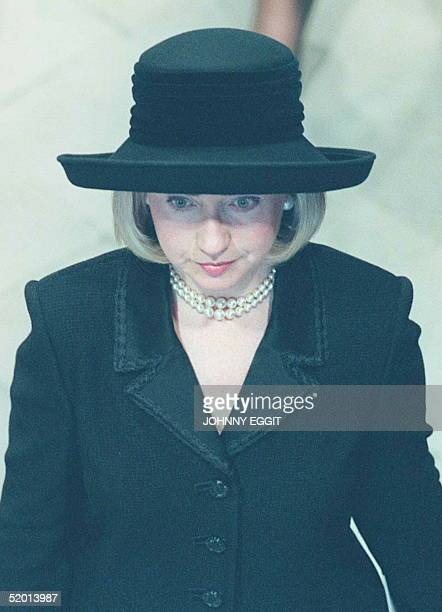Wife of the President of America Hillary Clinton awaiting the arrival of Diana Princess of Wales coffin after the long procession from her home in...