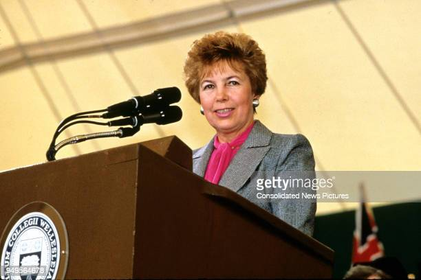 Wife of the President of the Soviet Union Raisa Gorbachev speaks during graduation ceremonies at Wellesley College, Wellesley, Massachusetts, June 1,...