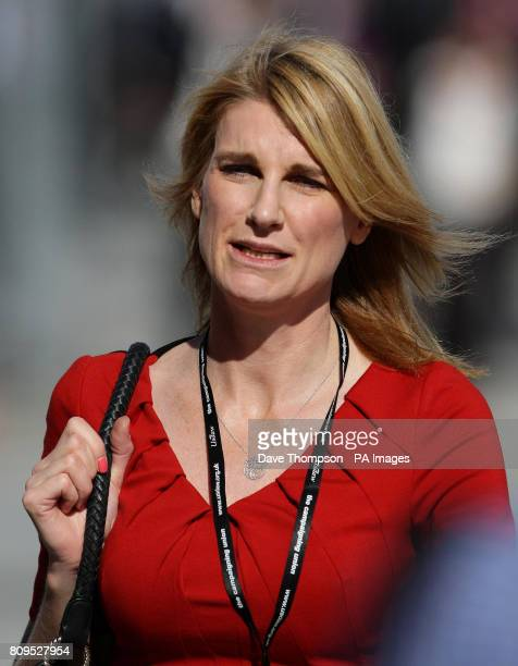 Wife of the speaker of the House of Commons Sally Bercow arrives at the Echo Arena in Liverpool where Labour party leader Ed Miliband delivered his...