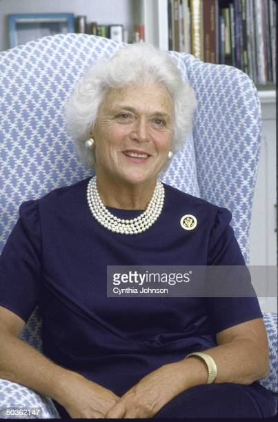 Wife of United States Vice President George H. W. Bush, alone, smiling, during an interview.