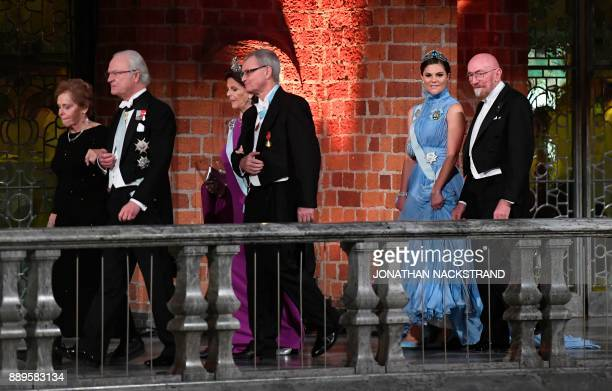 Wife of US physicist and Nobel Prize in Physics 2017 laureate Barry C Barish Samoan Barish King Carl XVI Gustaf of Sweden Sweden's Queen Silvia...