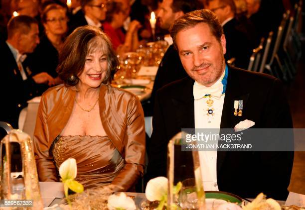 Wife of US physicist and Nobel Prize in Physics 2017 laureate Kip S Thorne Carolee Alison Thorne and Christopher O'Neill attend the 2017 Nobel...