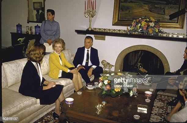 Wife of US Pres Mrs Ronald W Reagan with Pres Miguel de la Madrid Hurtado and wife after touring earthquake aftermath