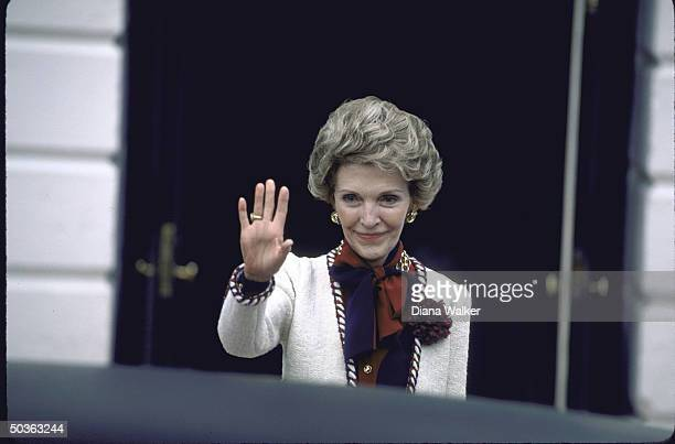 Wife of US Pres Ronald W Reagan outside Whitehouse after drug abuse summit with other first ladies