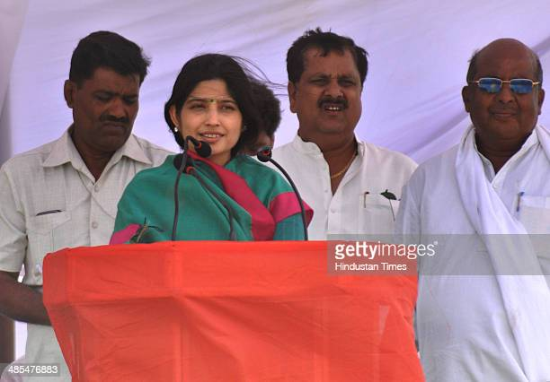 Wife of Uttar Pradesh Chief Minister Akhilesh Yadav Dimple Yadav during an election rally in support of Samajwadi party candidate from Akbarpur...
